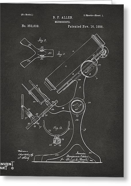 Lab Digital Art Greeting Cards - 1886 Microscope Patent Artwork - Gray Greeting Card by Nikki Marie Smith