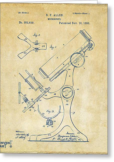 Lab Digital Art Greeting Cards - 1886 Microscope Patent Artwork - Vintage Greeting Card by Nikki Marie Smith