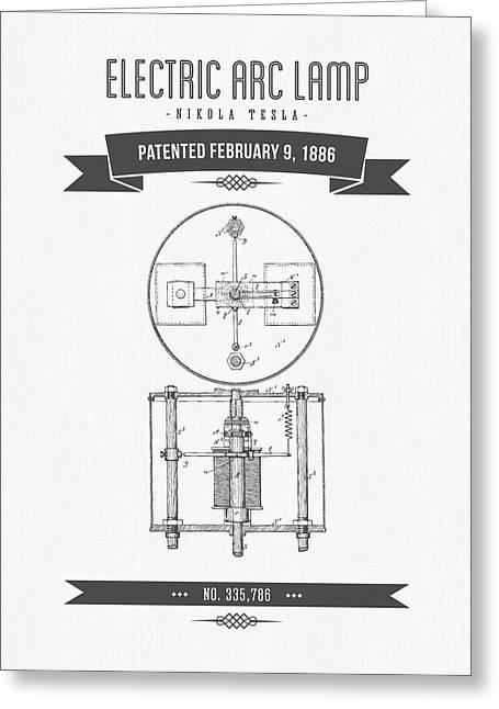 Generators Greeting Cards - 1886 Nikola Tesla Electric Arc Lamp Patent Patent Drawing - Retr Greeting Card by Aged Pixel