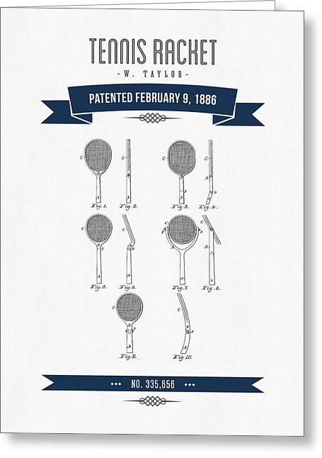 Technical Mixed Media Greeting Cards - 1886 Tennis Racket Patent Drawing - Retro Navy Blue Greeting Card by Aged Pixel