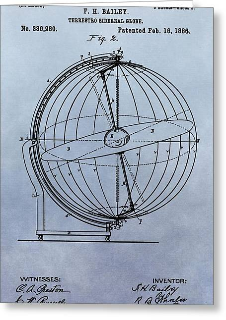 Sidereal Greeting Cards - 1886 Terrestro Globe Patent Greeting Card by Dan Sproul