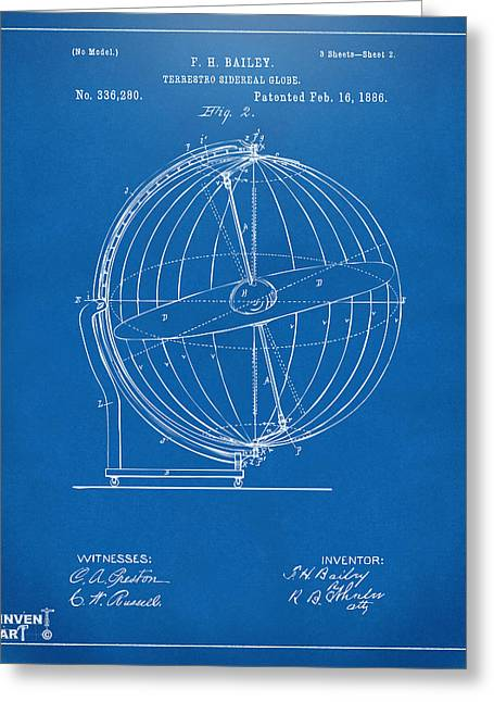Star Chart Greeting Cards - 1886 Terrestro Sidereal Globe Patent 2 Artwork - Blueprint Greeting Card by Nikki Marie Smith