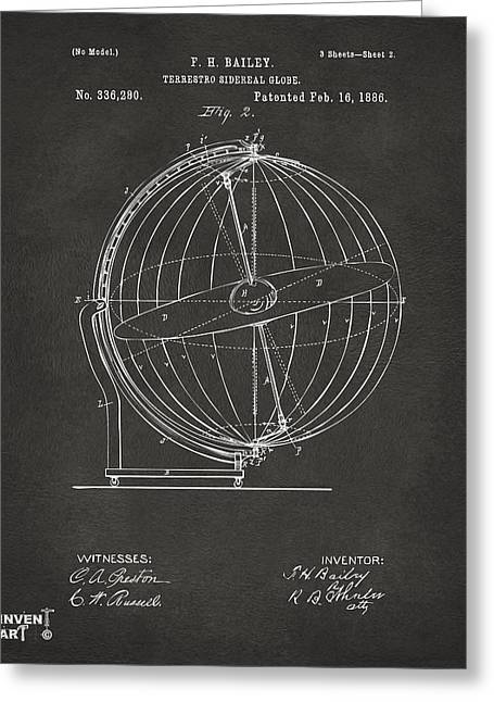 Star Chart Greeting Cards - 1886 Terrestro Sidereal Globe Patent 2 Artwork - Gray Greeting Card by Nikki Marie Smith