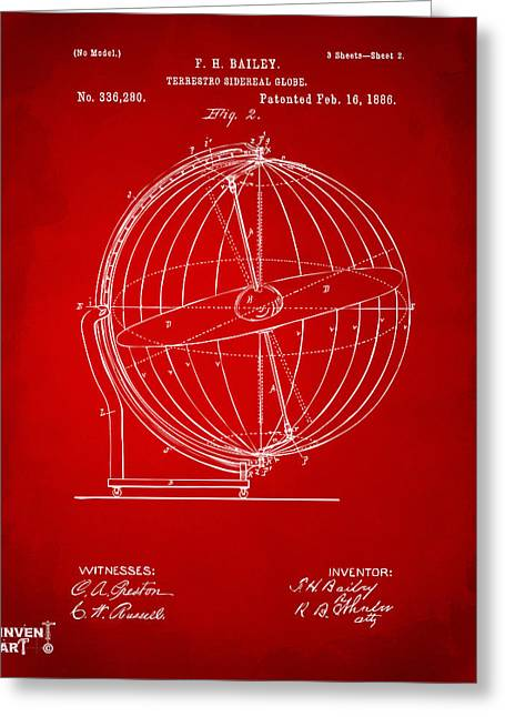 Star Chart Greeting Cards - 1886 Terrestro Sidereal Globe Patent 2 Artwork - Red Greeting Card by Nikki Marie Smith