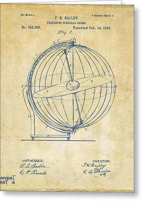 Star Chart Greeting Cards - 1886 Terrestro Sidereal Globe Patent 2 Artwork - Vintage Greeting Card by Nikki Marie Smith