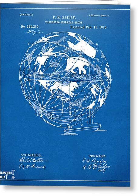 Star Chart Greeting Cards - 1886 Terrestro Sidereal Globe Patent Artwork - Blueprint Greeting Card by Nikki Marie Smith