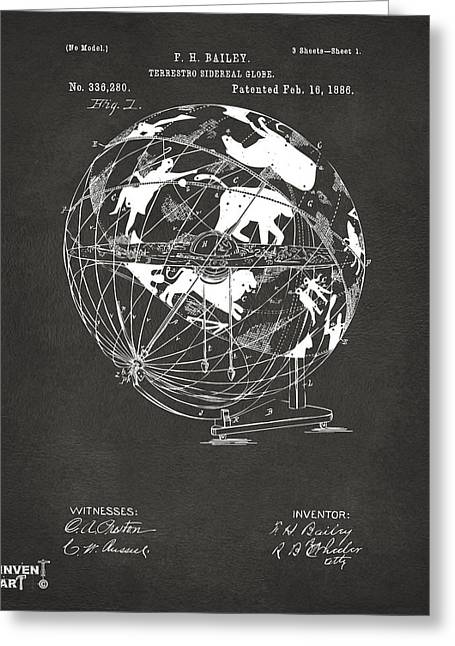 Star Chart Greeting Cards - 1886 Terrestro Sidereal Globe Patent Artwork - Gray Greeting Card by Nikki Marie Smith