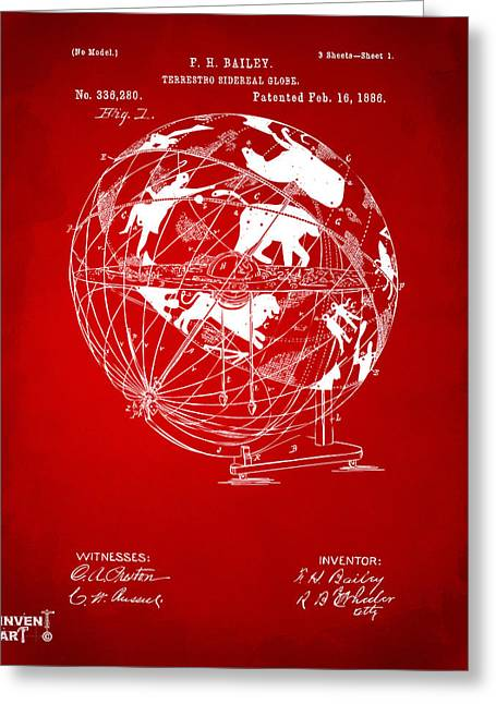 Star Chart Greeting Cards - 1886 Terrestro Sidereal Globe Patent Artwork - Red Greeting Card by Nikki Marie Smith