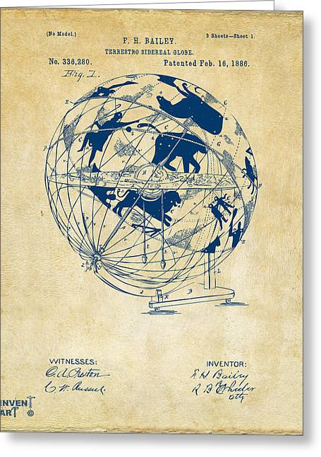 Star Chart Greeting Cards - 1886 Terrestro Sidereal Globe Patent Artwork - Vintage Greeting Card by Nikki Marie Smith