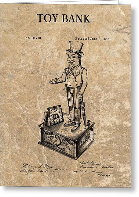 Finance Mixed Media Greeting Cards - 1886 Toy Bank Patent Greeting Card by Dan Sproul