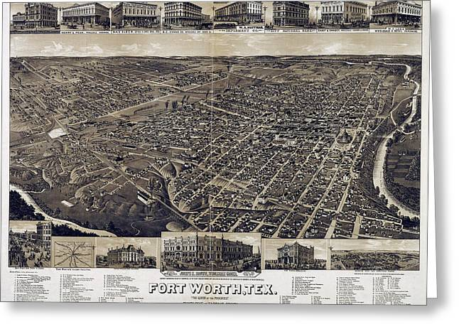 Carter House Greeting Cards - 1886 Vintage Map of Fort Worth Greeting Card by Stephen Stookey