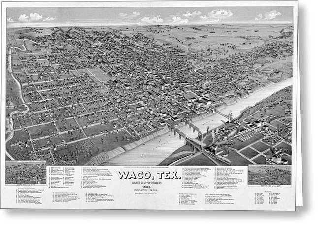 Hand Drawn Greeting Cards - 1886 Vintage Map of Waco Texas Greeting Card by Stephen Stookey