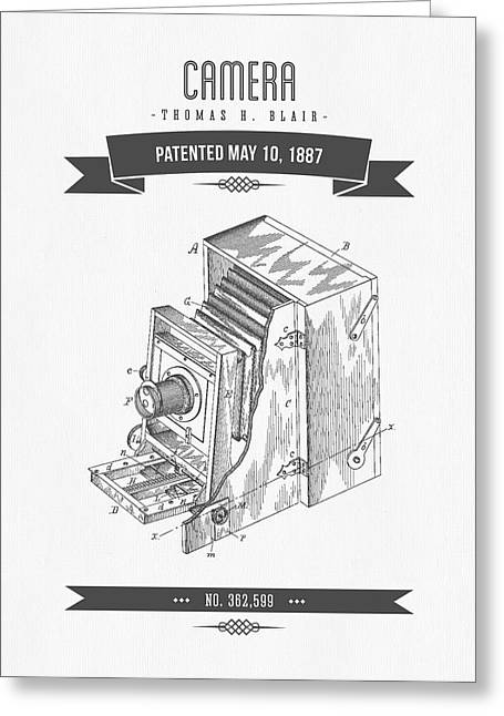 Camera Greeting Cards - 1887 Camera Patent Drawing - Retro Gray Greeting Card by Aged Pixel