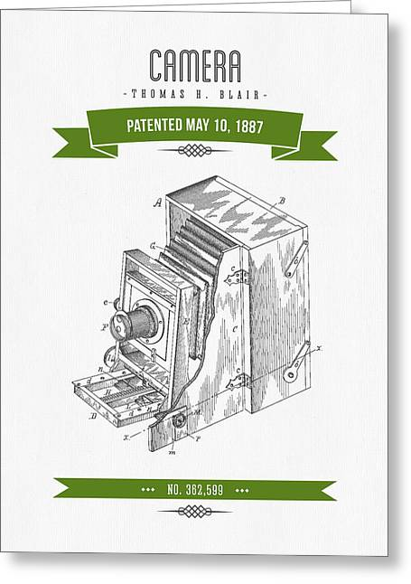 Old Camera Greeting Cards - 1887 Camera Patent Drawing - Retro Green Greeting Card by Aged Pixel