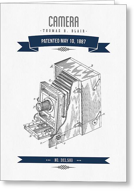 Camera Greeting Cards - 1887 Camera Patent Drawing - Retro Navy Blue Greeting Card by Aged Pixel