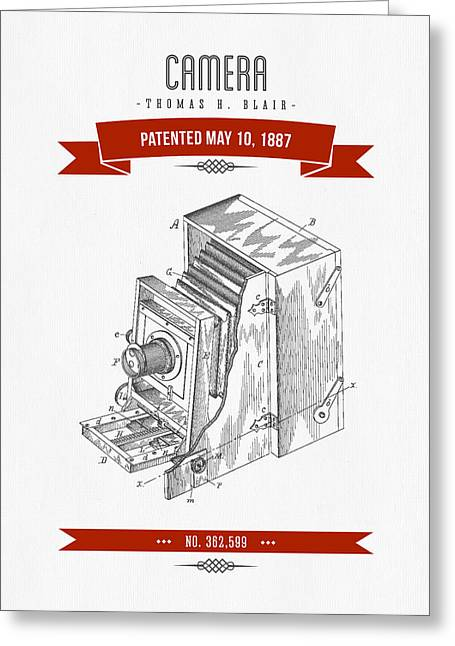 Camera Greeting Cards - 1887 Camera Patent Drawing - Retro Red Greeting Card by Aged Pixel