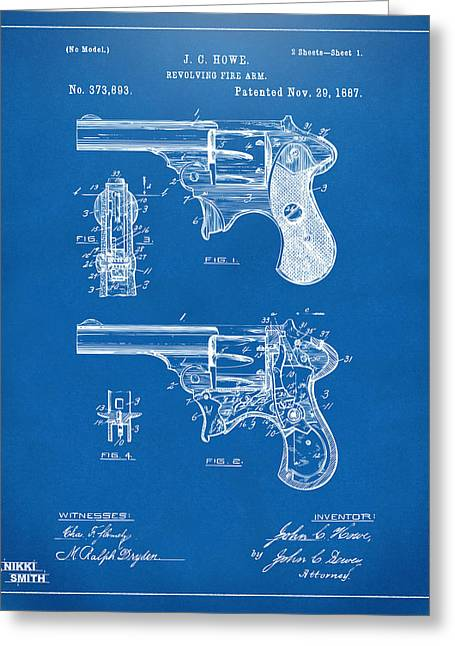 Howe Greeting Cards - 1887 Howe Revolver Patent Artwork - Blueprint Greeting Card by Nikki Marie Smith