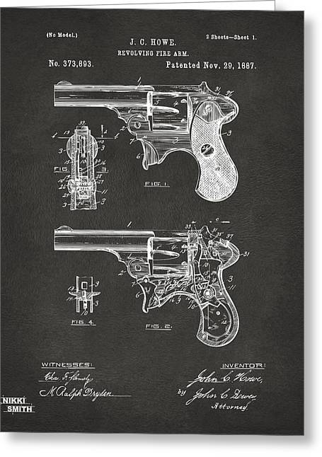 Howe Greeting Cards - 1887 Howe Revolver Patent Artwork - Gray Greeting Card by Nikki Marie Smith