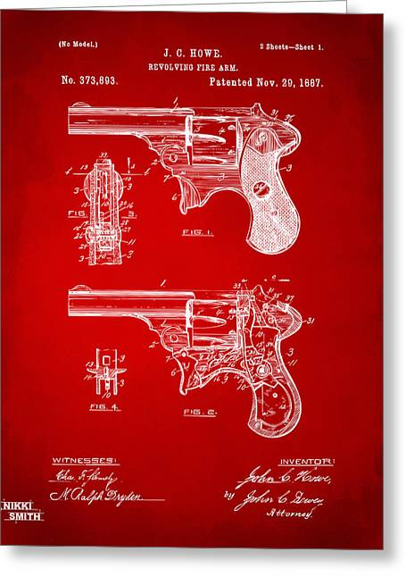 Howe Greeting Cards - 1887 Howe Revolver Patent Artwork - Red Greeting Card by Nikki Marie Smith