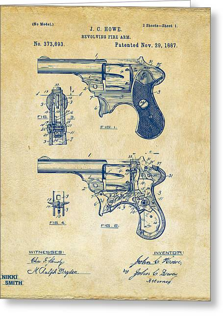 Howe Greeting Cards - 1887 Howe Revolver Patent Artwork - Vintage Greeting Card by Nikki Marie Smith