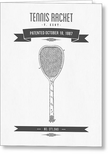 Technical Mixed Media Greeting Cards - 1887 Tennis Racket Patent Drawing - Retro Gray Greeting Card by Aged Pixel