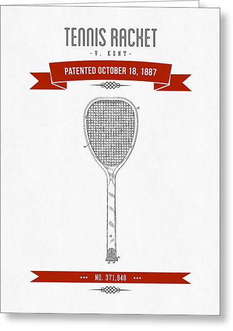 Technical Mixed Media Greeting Cards - 1887 Tennis Racket Patent Drawing - Retro Red Greeting Card by Aged Pixel