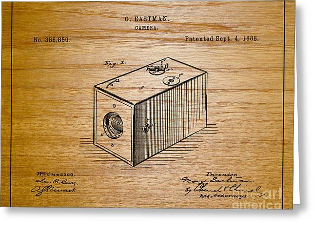 Famous Photographers Greeting Cards - 1888 Eastman Camera Patent Art 1 Greeting Card by Nishanth Gopinathan