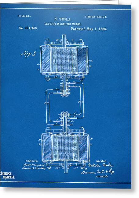 Caves Greeting Cards - 1888 Tesla Electro Magnetic Motor Patent - Blueprint Greeting Card by Nikki Marie Smith