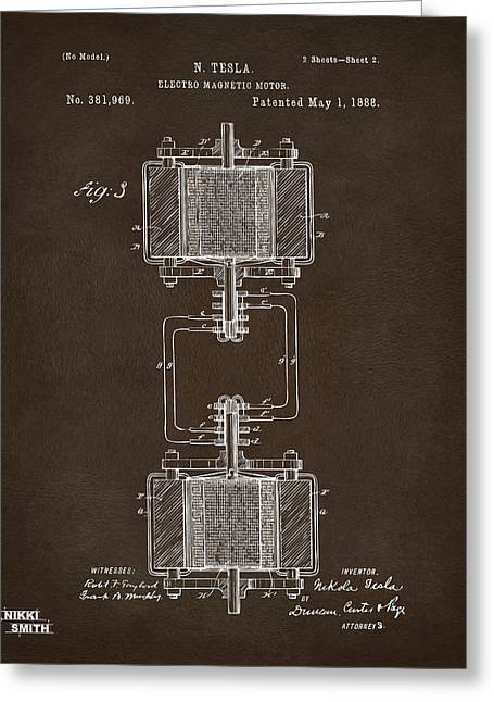 Patent Leather Greeting Cards - 1888 Tesla Electro Magnetic Motor Patent Espresso Greeting Card by Nikki Marie Smith