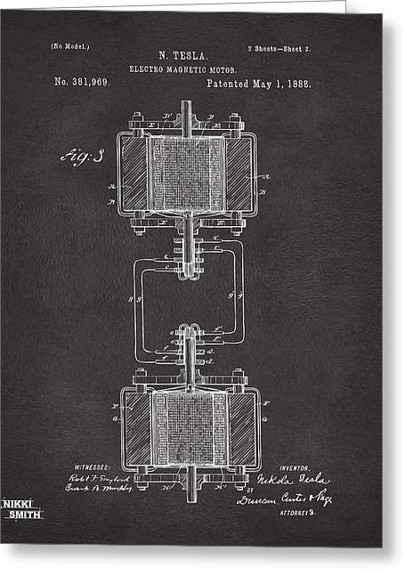 Nicola. Greeting Cards - 1888 Tesla Electro Magnetic Motor Patent - Gray Greeting Card by Nikki Marie Smith