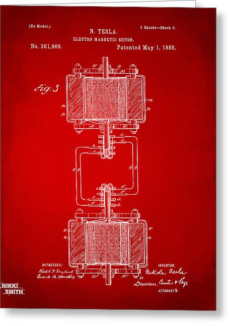Nicola. Greeting Cards - 1888 Tesla Electro Magnetic Motor Patent - Red Greeting Card by Nikki Marie Smith