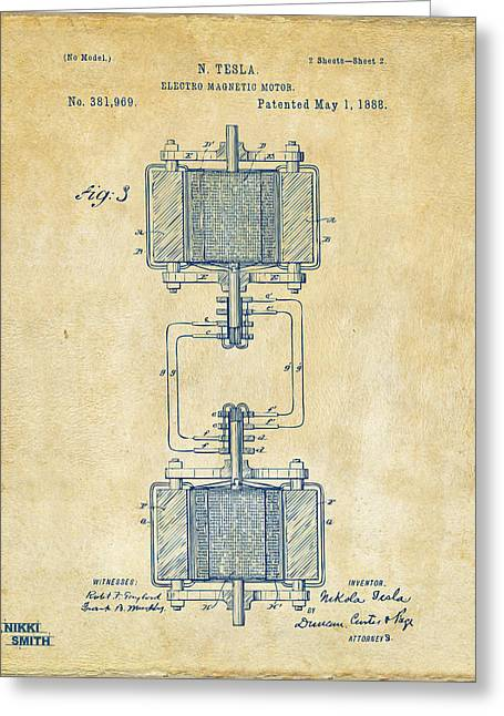 Nicola. Greeting Cards - 1888 Tesla Electro Magnetic Motor Patent - Vintage Greeting Card by Nikki Marie Smith
