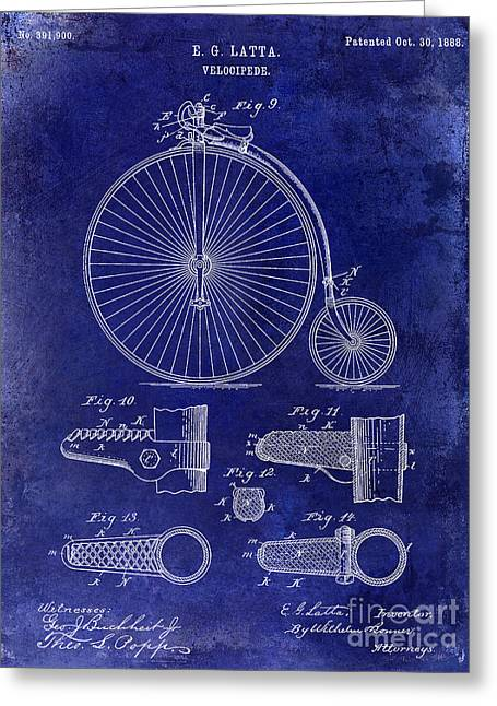 Vintage Bicycle Greeting Cards - 1888 Velocipede Patent Drawing Blue Greeting Card by Jon Neidert