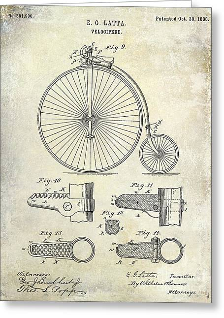 Vintage Bicycle Greeting Cards - 1888 Velocipede Patent Drawing  Greeting Card by Jon Neidert