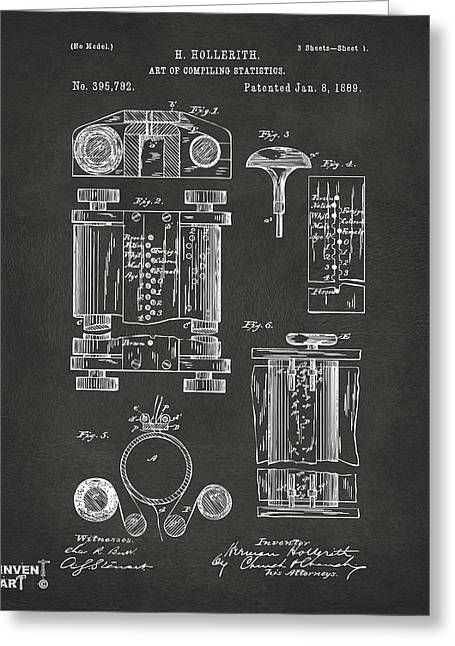 Technology Greeting Cards - 1889 First Computer Patent Gray Greeting Card by Nikki Marie Smith