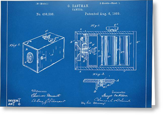 Conversations Greeting Cards - 1889 George Eastman Camera Patent Blueprint Greeting Card by Nikki Marie Smith