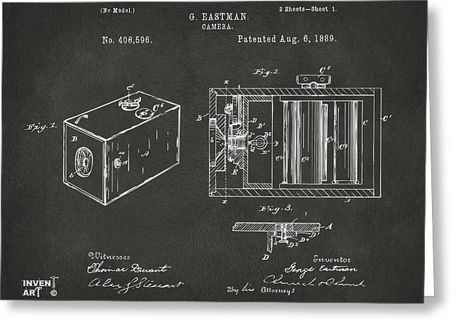 Conversations Greeting Cards - 1889 George Eastman Camera Patent Gray Greeting Card by Nikki Marie Smith