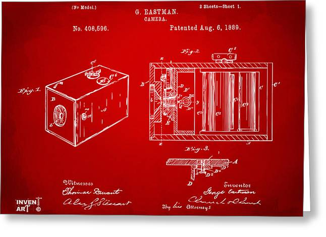 Conversations Greeting Cards - 1889 George Eastman Camera Patent Red Greeting Card by Nikki Marie Smith