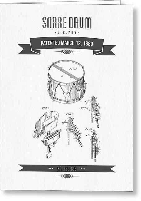 Recently Sold -  - Technical Mixed Media Greeting Cards - 1889 Snare Drum Patent Drawing Greeting Card by Aged Pixel