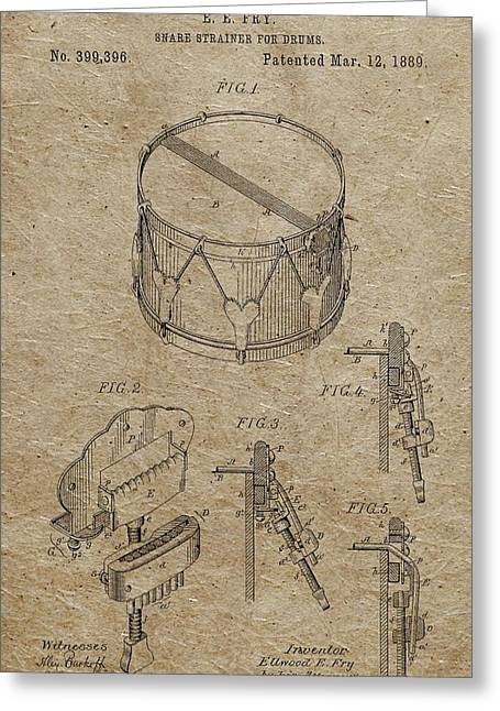 Restoration Drawings Greeting Cards - 1889 Snare Drum Patent Vintage Paper Greeting Card by Dan Sproul