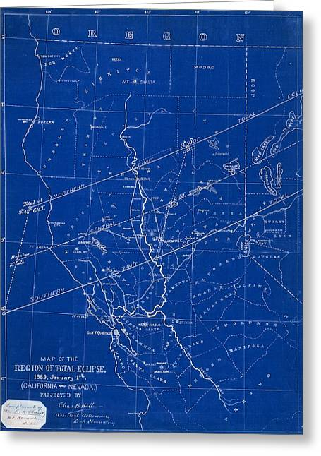 Geographical Locations Greeting Cards - 1889 solar eclipse chart, USA Greeting Card by Science Photo Library