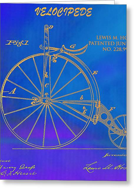 Cycle Mixed Media Greeting Cards - 1889 Velocipede Patent Greeting Card by Dan Sproul