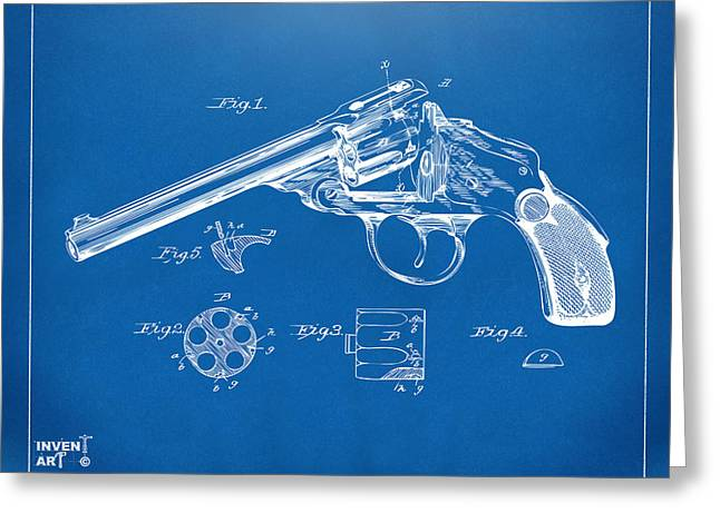 1889 Wesson Revolver Patent Minimal - Blueprint Greeting Card by Nikki Marie Smith
