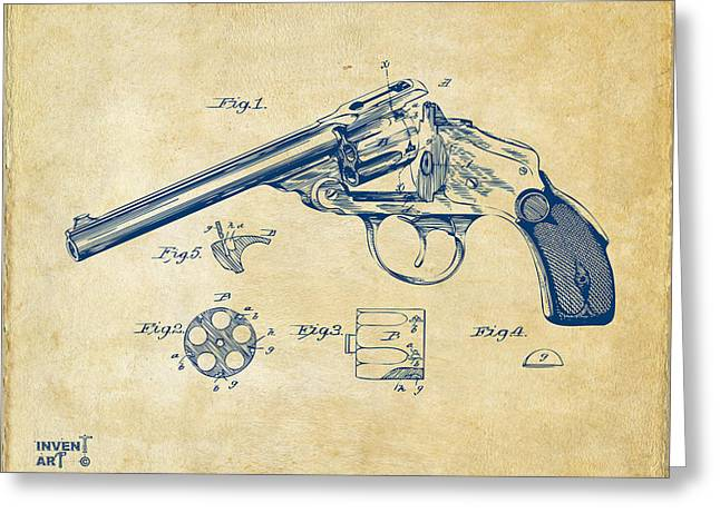 Xray Greeting Cards - 1889 Wesson Revolver Patent Minimal - Vintage Greeting Card by Nikki Marie Smith