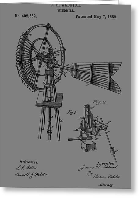 1889 Windmill Patent Greeting Card by Dan Sproul