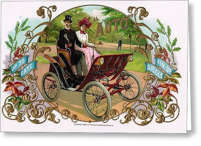 Park Scene Mixed Media Greeting Cards - 1890 Auto Vintage Art Greeting Card by Maciej Froncisz