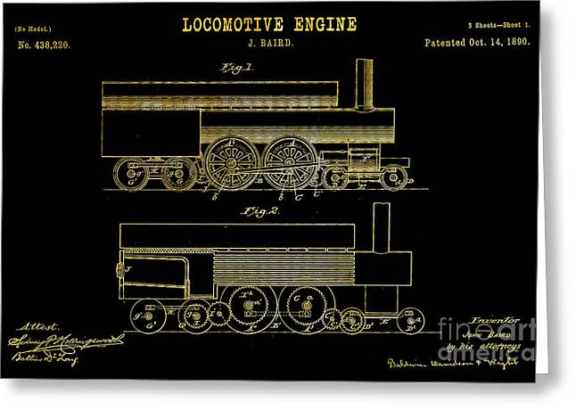 Important Drawings Greeting Cards - 1890 Baird Locomotive Engine Patent Art 1 Greeting Card by Nishanth Gopinathan
