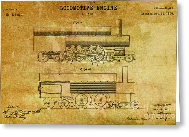 Important Drawings Greeting Cards - 1890 Baird Locomotive Engine Patent Art 2 Greeting Card by Nishanth Gopinathan