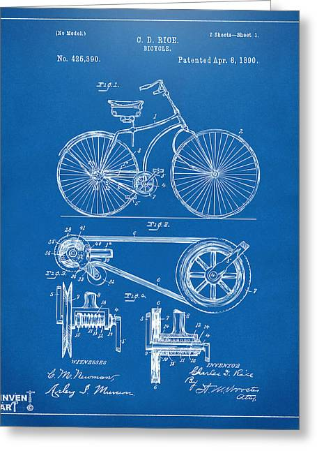 Biker Greeting Cards - 1890 Bicycle Patent Artwork - Blueprint Greeting Card by Nikki Marie Smith