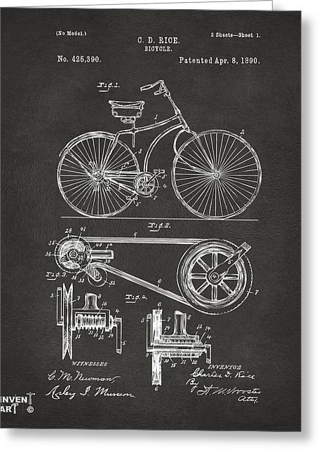 Vintage Bicycle Greeting Cards - 1890 Bicycle Patent Artwork - Gray Greeting Card by Nikki Marie Smith